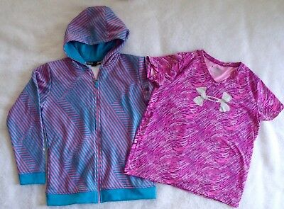 Under Armour Lot of 2 Girls YXL Short Sleeve Loose Fit Shirt & Storm Zip Hoodie