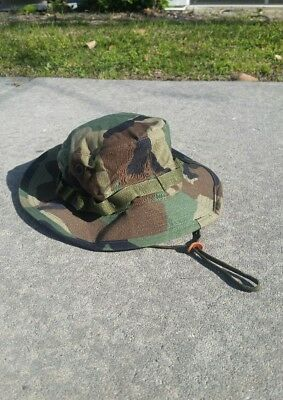 VTG Army Military Camo Boonie Hat 7 1/4 Sun Hot Weather Type II MIL-SPEC-H-43577