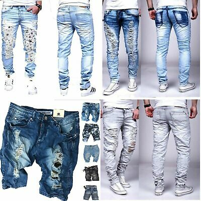 50 HERREN JEANS DESTROYED Straight-Cut- RISSE CAMOUFLAGE ARMY HOSE  ST-1118 pa