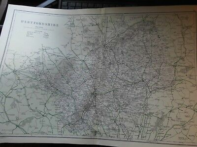 HERTFORDSHIRE,EARLY RAILWAY & ROADS-ANTIQUE MAP:GEO.BACON 1868-1911 lithographed