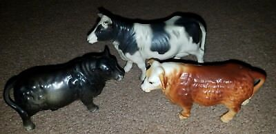 Vtg Lot of 3 Porcelain Ceramic Cow Figurines Lefton Variety Collectibles