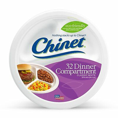 Chinet Paper Plates 10 3/8 Inches 32 Count Packaging Classic White Compartment