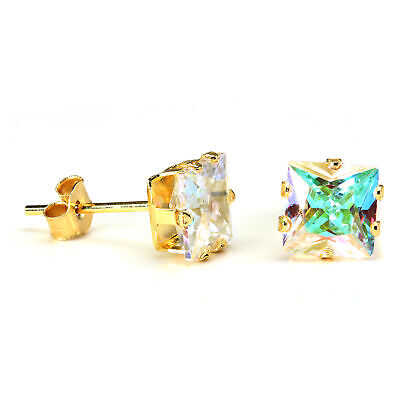 9ct Gold & 6mm Square Aurora Borealis Crystal Stud Earrings / Studs / CZ