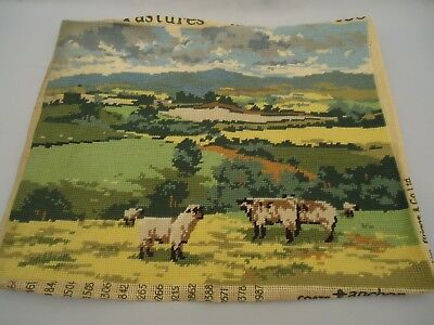 "Antiq Wm Briggs England Large 18.5 x 15"" wool needlepoint tapestry Sheep PASTURE"