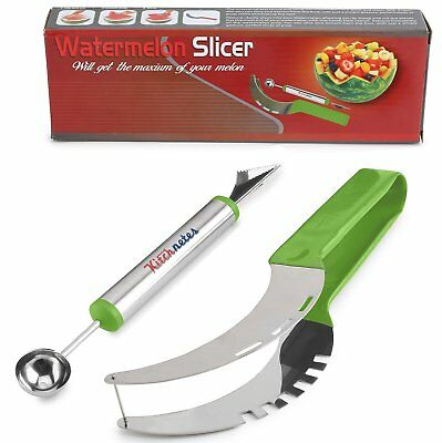 Premium Watermelon Slicer Cutter Set Stainless Includes Fruit Carving Knife/Spoo