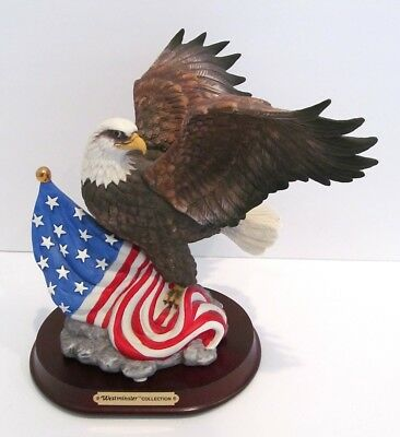 Vtg American Bald Eagle Hand Painted Bisque Porcelain Bird Statue Figurine NWT