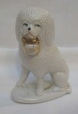 Antique White Poodle Carrying Basket
