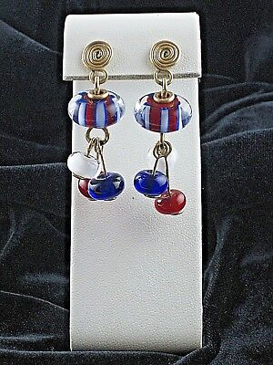 Earrings Red White Blue Glass Pierced Vintage Mis-Matched Backs