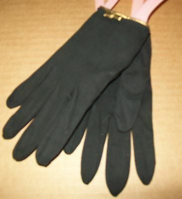 Vintage Christian Dior Black Dress Gloves sz 7 Gold Bow Lord taylor Cotton