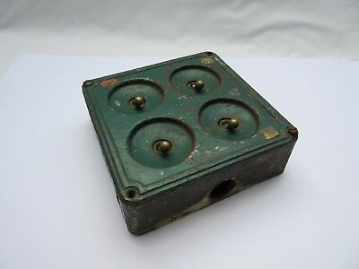 Vintage industrial cast iron Crabtree? 4 gang electric light switch