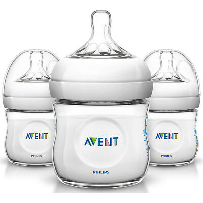 PHILIPS Avent SCF010/37 4oz Natural Baby Bottle - 3 Pack - Clear
