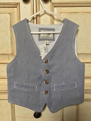 The Children's Place Boys 6 Navy Striped Seersucker Vest *NWT* $24.95 Spring!