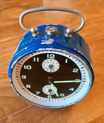 Vintage Wehrle Polo Blue Mid Century Alarm Clock - Works - Made in Germany