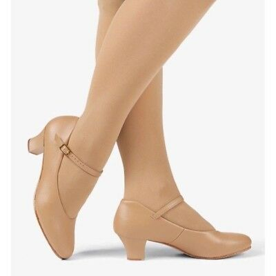 "Theatre/Dance Shoes Caramel/Nude 1.5"" Heel Character Shoes Adult Sizes Strap"