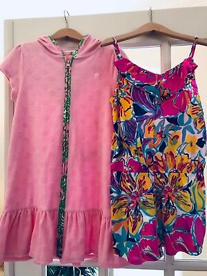 Lilly Pulitzer Terry Cloth Hooded Swim Cover Up Shorts Romper 8 10 L