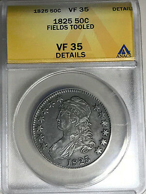 1825 Capped Bust Silver Half Dollar Anacs Vf 35 Details