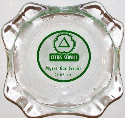 Vintage glass ashtray CITIES SERVICE oil Myers Gas Service Cutler ILL n-mint