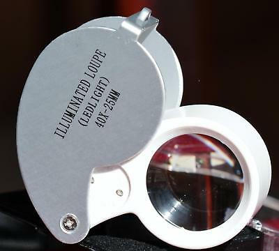 One(1) Jeweler's  illuminated loupe 40x magnifier 40x25mm with LED light & case
