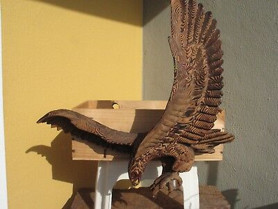 A2102 Vintage Hand Carved Cryptomeria Wood Wall Hanging Eagle Signed