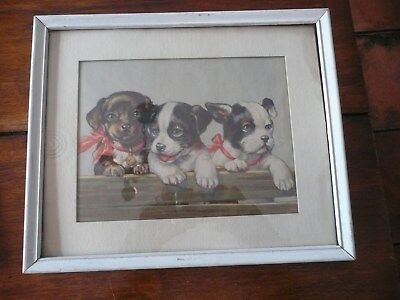 Old Vintage Puppy Dog Print Matted in Frame--under glass; #540 Litho in USA