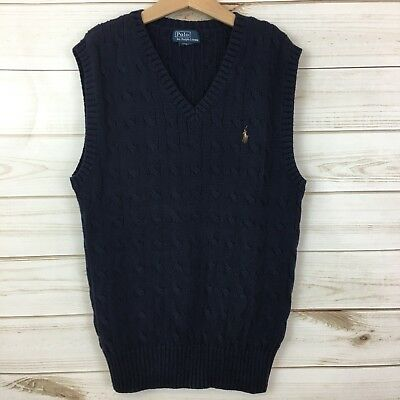 Ralph Lauren Boys Navy Blue Cable Knit Sweater Vest. Size Large(14/16).