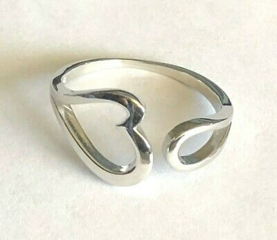 .925 All Sterling Silver ADJUSTABLE Hearts Rings ~$10.99 ~2 STYLES All Sterling