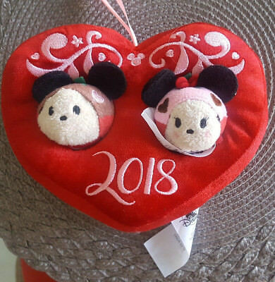 Disney Store Set of 2 Tsum Tsums Valentines Day 2018 Mickey Minnie Mouse Scented