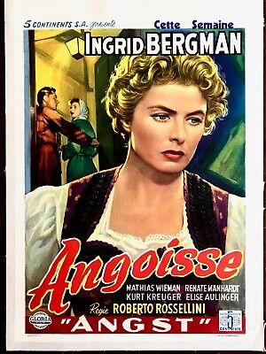 Angst (Fear) Belgian Movie Poster On Linen Ingrid Bergman 1954