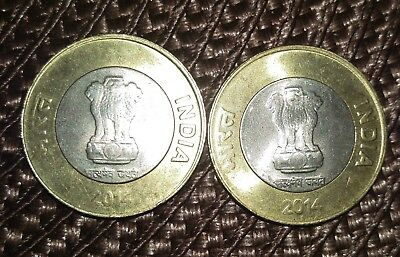 2 BI-METAL 10 RUPEE COINS from INDIA DATING 2014