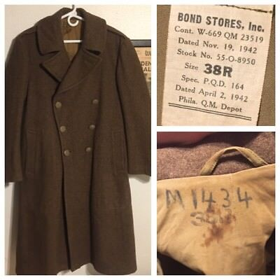 1942 WW2 US Army Long Melton Wool Trench Coat Officers Military USAF USMC Sz 38