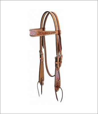 Weaver Turquoise Cross Collection Browband Headstall With Pink Beads