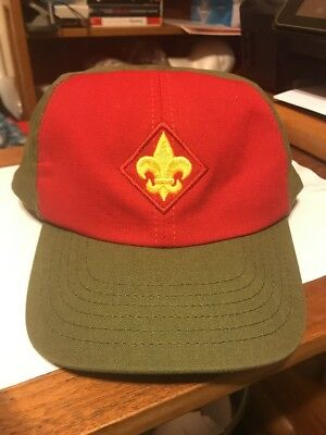 Vintage BSA Boy Scouts Twill Snapback Cap Hat Red Olive Green Size M/L USA