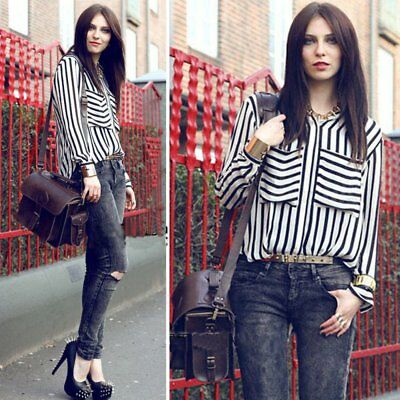 Women Vertical Striped Chiffon T-shirt Long Sleeve Button Down Blouse Tops Tee