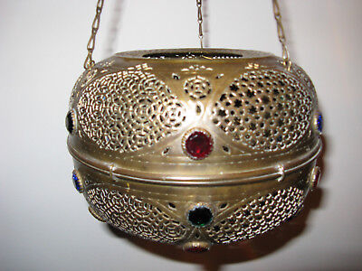 Brass Lantern handcrafted, with colored beads