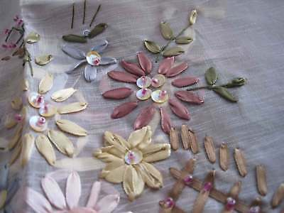 Pretty Hand Silk Ribbon Flower Embroidery Shining Bead Squin Sheer Topper 60cm
