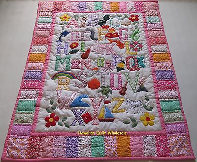 Hawaiian style ABC quilt baby crib blanket hand quilted wall hanging PRINTED