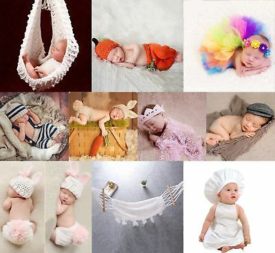 Newborn Baby Girls Boys Crochet Knit Costume Photography Photo Prop Outfits~Kits