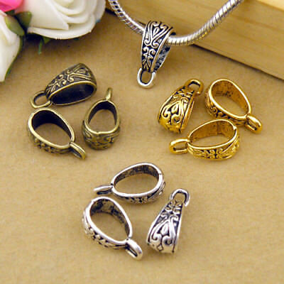 8Pcs Tibetan Silver,Gold,Bronze Charm Pendant Bail Connector Fit Bracelet M1101
