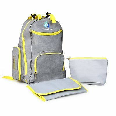 Baby Diaper Bag Backpack w/ Insulated Pouch & Changing Pad Waterproof Unisex (L)