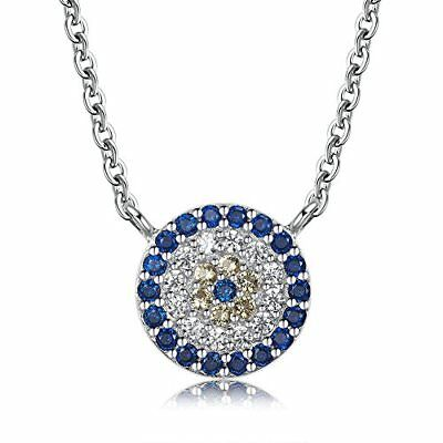 ❤ Valentine Mothers Day Round Evil Eye Pendant Necklace Sterling Silver 925 Cubi