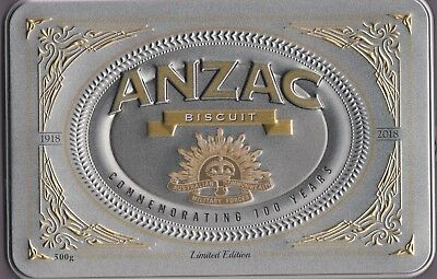 Limited Edition ANZAC TIN + Biscuits - 100 YEARS 1918-2018 - FREE SHIP in Aust