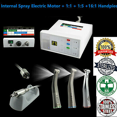 Dental Internal Spray Electric Motor + 1:1 + 1:5 +16:1 Fiber Optic Contra Angle