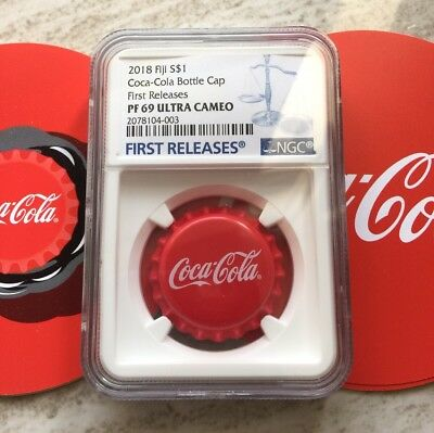 First Release 2018 Fiji Coca-Cola Bottle Cap $1 6g Silver Proof Coin NGC PF69