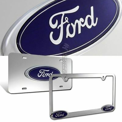 Ford 3D  Logo Stainless Steel License Plate Frame - 2pcs Front & Back Authentic