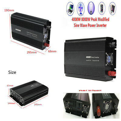 4000W Digital Modified Sine Wave Car Power Inverter Converter 12V to 110V Alarm