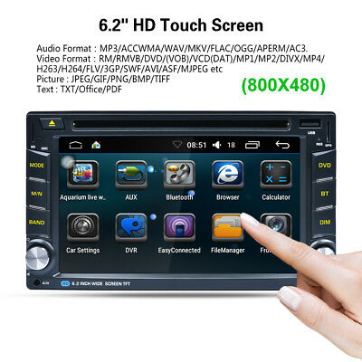 "6.2"" 2-DIN Android 6.0 GPS Autoradio Stereo WIFI+3G HD DVD Lettore Bluetooth IT"