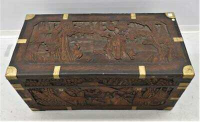 Carved Chinese Camphor Wood Trunk late 19th century great details 41""