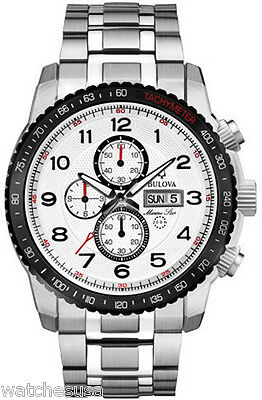 Bulova Marine Star Chronograph White Dial Stainless Steel Mens Watch 98C114