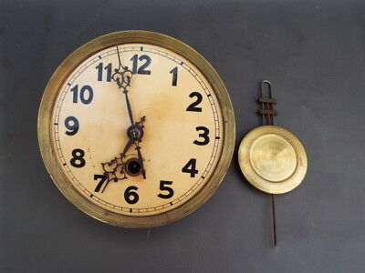 Vintage wall clock movement dial hands and pendulum - repair or spares