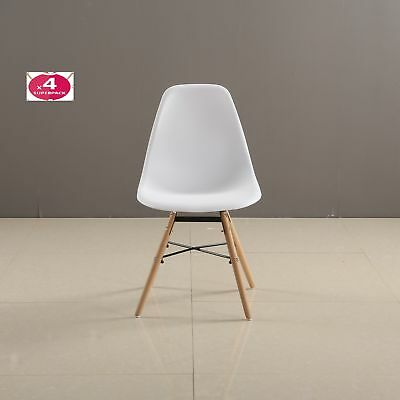Pack de 4 sillas Tower Wood, réplica de Eams, 47 x 56 x 81 cm, blanco